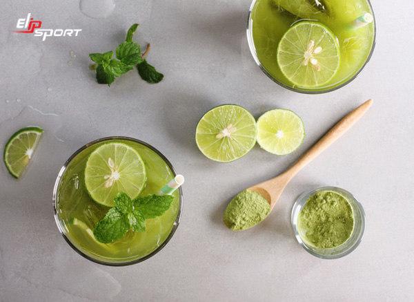 giảm cân bằng bột trà xanh với chanh