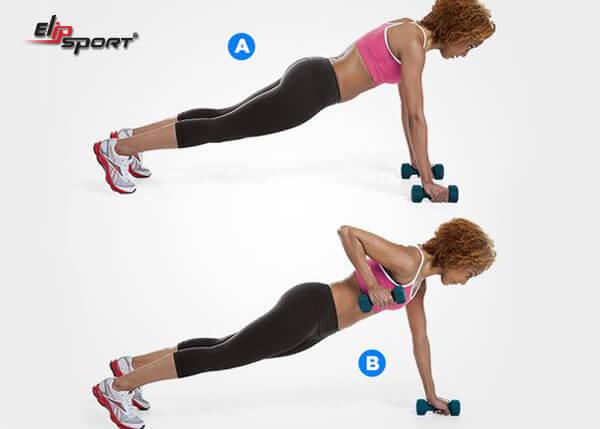 Bài tập Hammer Bicep Curls in Plank giảm mỡ bụng và bắp tay
