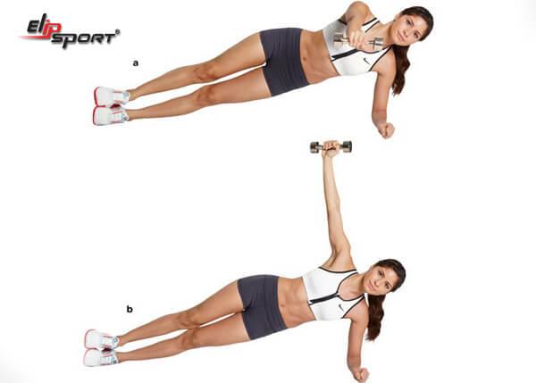 Bài tập Side Plank with Rear Fly giảm mỡ bụng và bắp tay