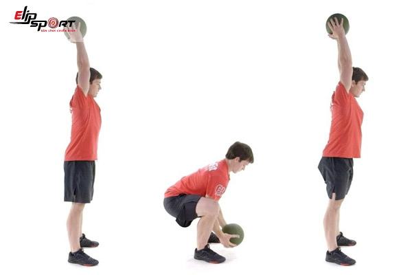 bài tập giảm mỡ bụng nâng bóng qua đầu