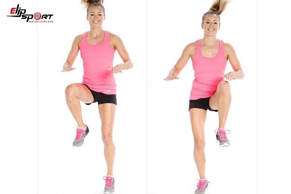 bài tập aerobic giảm mỡ bụng - nâng gối
