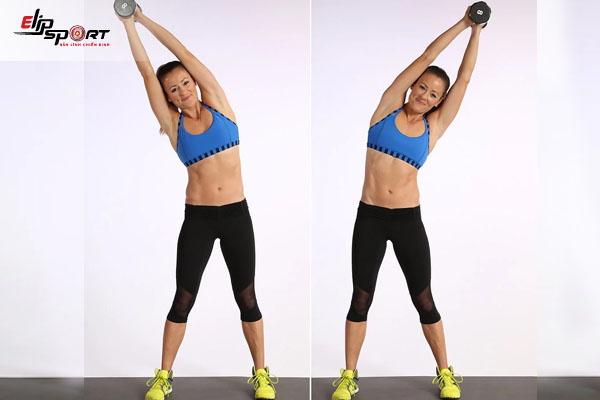 bài tập aerobic giảm mỡ bụng nghiêng với tạ
