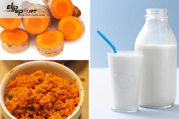 giảm cân bằng tinh bột nghệ và sữa tươi