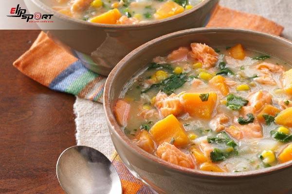 bí quyết tăng cân với súp cá hồi