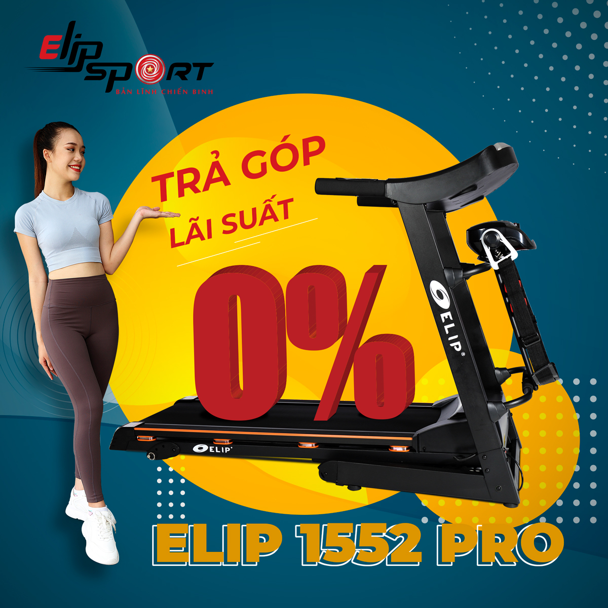 Máy chạy bộ điện đa năng ELIP 1552 Pro