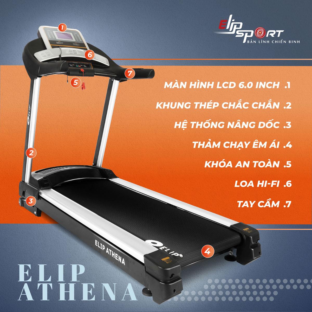 Máy chạy bộ điện đơn năng ELIP Athena