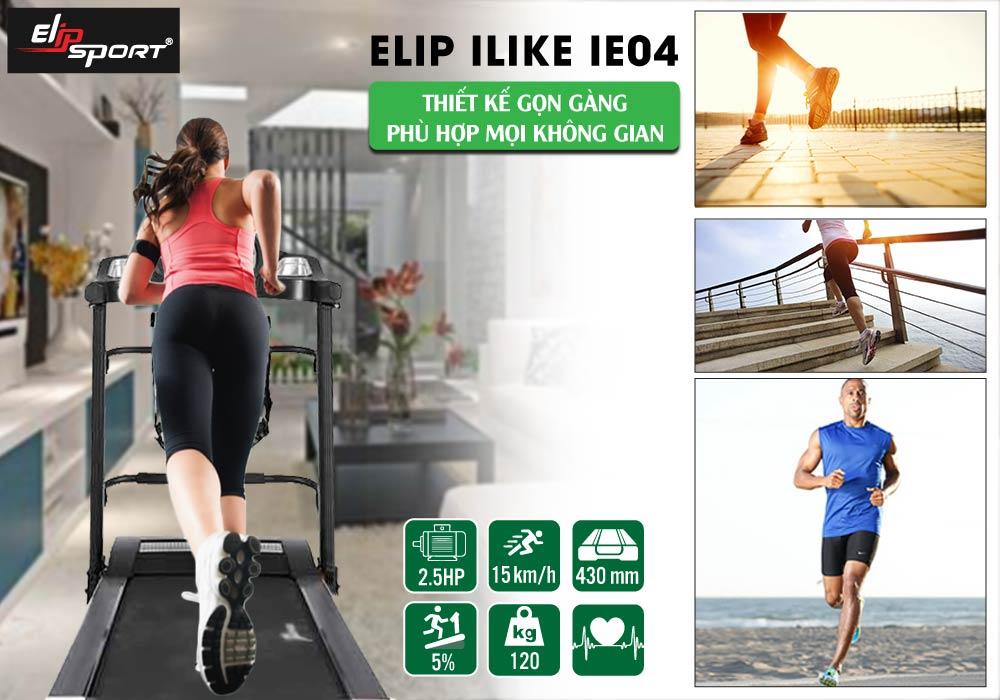 thiết kế Máy chạy bộ điện Elip iE04 đa năng