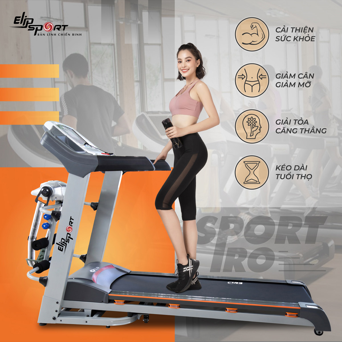 Máy chạy bộ điện đa năng ELIP Sport Pro