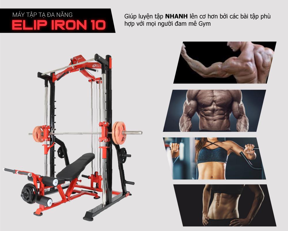 Máy tập tạ đa năng Elip iRon10: 10in1