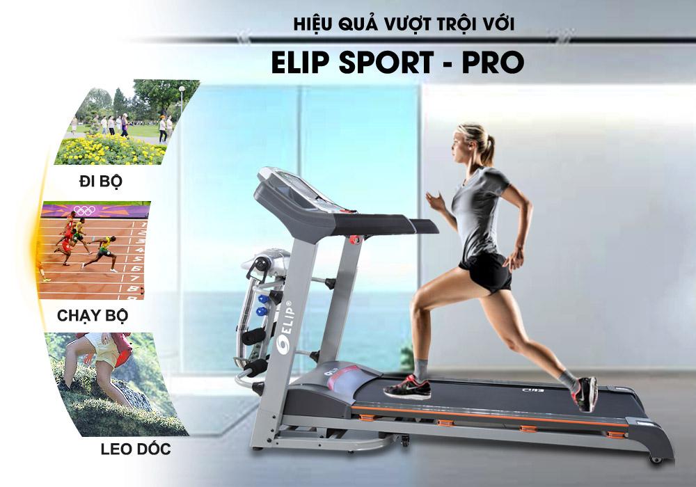 Máy chạy bộ điện Elip Sport Pro đa năng